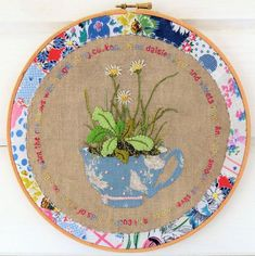Daisies in a Teacup Hand Embroidery pdf pattern $4.50