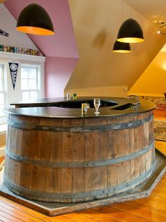 Whiskey Barrell Bar - 20 Creative Basement Bar Ideas, http://hative.com/creative-basement-bar-ideas/,