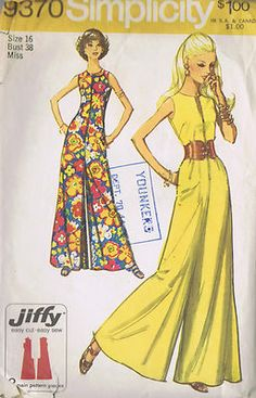 Vintage 70's Jumpsuit Pattern with Palazzo Pant Leg. I want this pattern!!
