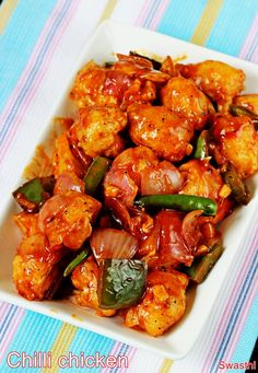 Chilli chicken recipe with video – The most sought after chicken dish from Indo chinese cuisine is crispy chilli chicken. Years ago I had shared this dry chilli chicken recipe which uses less refined flour and sauces. It is one of the most loved ch Chilli Chicken Recipe, Indian Chicken Recipes, Chicken Recipes Video, Indian Food Recipes, Asian Recipes, Healthy Recipes, Ethnic Recipes, Asian Chicken, Keto Chicken