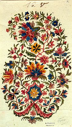 FLORAL PAISLEY / Alois Senefelder (German, 1771-1834) . Pattern design for textile printing, Watercolor, 1803.