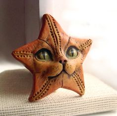 Starfish Cat Face Cab Kitty Animal Art Doll by graphixoutpost, $12.50