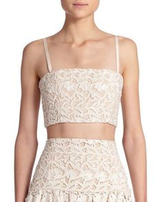ebf4dbe1cd67b Details about Alice   Olivia Cream Natural Lace Marisol Crop Bustier Bra  S L Top  255 NWT 2