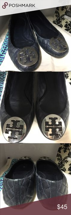 Tory Burch flats Reposh Blue quilted TB flats with silver emblem. Fair amount of wear to heel and toe area. Reasonable offers accepted. Tory Burch Shoes Flats & Loafers