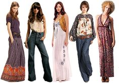 Afro's, peasant tops, monster bells, maxi skirts, platform shoes, halters.  The 70's were awesome!