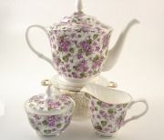 Bone China Violet Tea Pot, Cream & Sugar Set