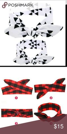 Price drop! new triangle mommy and me headbands You will be receiving one adult sized bunny ears headband and one baby/toddler sized headband. Made from cotton.  Picture 2 shows how to tie it.  Baby fits 0-4 years  Adult fits 4 years and up Accessories Hair Accessories