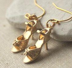 Gold Shoe earrings Little Gold sandal earrings Matte gold