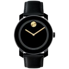 Movado Bold Bold /Gold Leather Watch (960 BRL) ❤ liked on Polyvore featuring jewelry, watches, accessories, bracelets, black, swiss quartz watches, gold wrist watch, movado, gold jewelry and dial watches