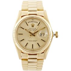 VINTAGE ROLEX WATCHES Vintage Rolex 18K Day-Date President ($14,250) ❤ liked on Polyvore featuring jewelry, watches, accessories, bracelets, gold, vintage bracelet, dial watches, wooden bracelet, rolex watches and vintage fine jewelry