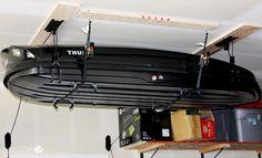 17 Organization Hacks To Save Your Sanity – Garage Organization DIY Storage Shelf With Bins, Roof Storage, Kayak Storage Rack, Ceiling Storage, Garage Storage, Diy Storage, Storage Boxes, Basement Storage, Shed Organization