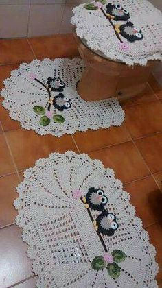 Crochet Mat, Crochet Owls, Crochet Home, Crochet Gifts, Crochet Doilies, Loom Knitting Stitches, Crochet Stitches Patterns, Loom Patterns, Crochet Kitchen