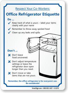 Office Refrigerator Etiquette, Fridge Cleanup Sign, SKU: S-5270