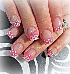 Pink & White gel nails