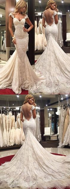 THIS ONE Court Train Lace Mermaid Wedding Dress white wedding dress 2017 wedding dress