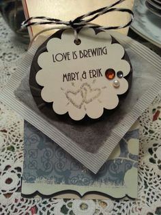 Tea party bridal shower. Handstamped tag tied to a teabag as guest's takeaway gift.