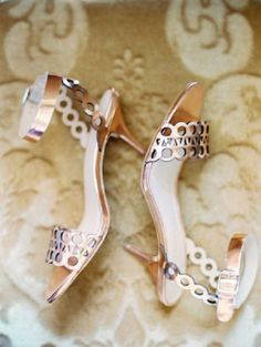Rose gold hued wedding shoes