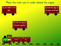 Sequencing - Place the train cars (containing story events) in order behind the engine.