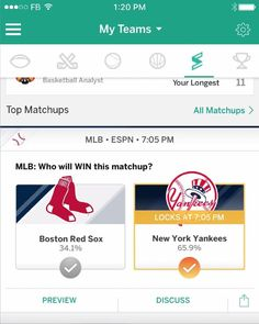 The New York Yankees have a 2-game lead in the AL East over the Boston Red Sox. Who's winning tonight?   Make your pick in Streak, now available in the ESPN Fantasy App.