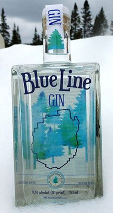 Lake Placid Spirits Blue Line Gin with white pine.