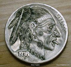"Hobo Nickel ""Maori Warrior Chief"" Hand Engraved Coin by Shaun Hughes Ohns RM1261   eBay"