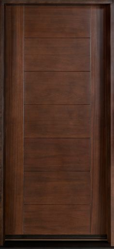 Entry Door in-Stock - Single - Solid Wood with Walnut Finish, Contemporary Series, Model