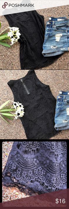 F21 Black Lace Top, fully lined F21 Lace Top with black lining, zipper in back. So pretty, dress up or down, perfect for both! ******Shorts are also for sale, See Bullhead Shorts Size 5***** Forever 21 Tops Tank Tops