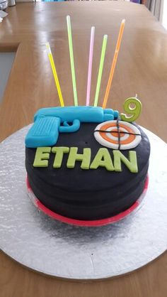 Really happy with this cake! Laser tag birthday party.