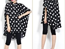 BLACK/WHITE Plus Size Polka Dot Blouse Loose Shirt