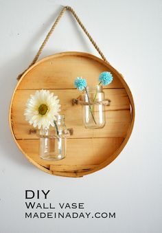 DIY Round Wall Vase, round shelf, cheese box round shelf, make a vase that hangs on a wall, vintage box, jute rope, old jar wall vase trendy geo round shelf