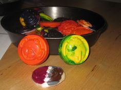 crayon molds (use candy molds + old crayons + fl sun for about 2-3 hours)