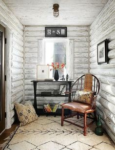 Painted log walls passiondecor de marieclaude   paint the interior of a log cabin white to brighten it up   Around  . Painting Log Cabin Interior Walls. Home Design Ideas