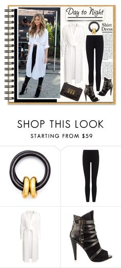 """""""Day to Night: Shirt Dress"""" by affton ❤ liked on Polyvore featuring Monies, James Perse, H&M, GUESS and Sonia Rykiel"""