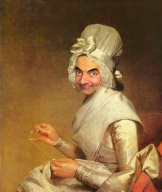 "After ""Mrs. Richard Yates"" by Gilbert Stuart—Mr. Bean digitally painted into historical portraits 