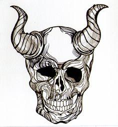 Skull, calavera lineal Técnica: Plumilla