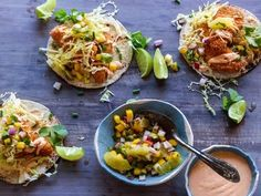 The Ultimate Fish Tacos : Tyler Florence serves his mahi mahi tacos with pink chile mayonnaise and chunky mango-radish salsa. You will want to serve this family-style feast at your next dinner party. Grilling Recipes, Fish Recipes, Seafood Recipes, Cooking Recipes, Cooking Fish, Crowd Recipes, Healthy Recipes, Healthy Food, Seafood