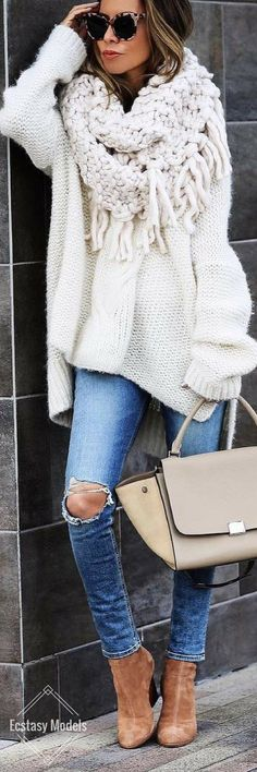 #fall #outfits women's white sweater and blue denim distressed jeans #KoreanFashion