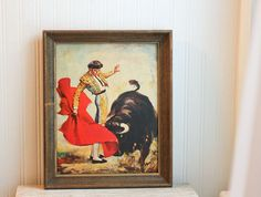 Matador Bull Fighter Bull Fighting Vintage Print by MollyFinds