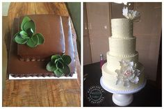 Simple Dotted Peony Wedding Cake