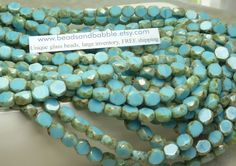 6mm Faceted Opaque Blue Turquoise Picasso Table Cut Firepolished Czech Glass Beads. $3.99, via Etsy.