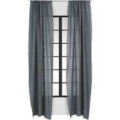 graphite linen curtain panel   CB2