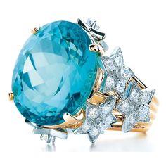 Tiffany stars ring with 16 ct. blue tourmaline and gold. From the Tiffany Blue Book I Love Jewelry, Fine Jewelry, Gold Jewelry, Jewlery, Jewellery Rings, Cheap Jewelry, Fashion Jewellery, Jewelry Shop, Wedding Jewelry