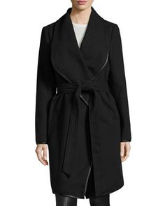Tessa Faux-Leather Belted Trim Coat, Black by Belle By Badgley Mischka at Neiman Marcus Last Call.