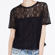 Lace Overlay Tee Black lace overlay over a sheer navy top. Zip back closure. Top can be dressed down or up! Armani Exchange Tops Blouses