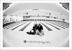 bowling alley engagement pictures