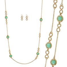 Round Stone & Infinity Linked Long Chain Necklace Set [ECN13053GDJD] : Wholesale24x7.com - Fashion Scarves and Accessories Wholesale, One Stop Wholesale Shopping for Scarves, Jewelry and Fashion Accessories!
