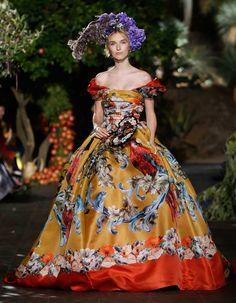 Tropical parrots and floral print vibrant citrus color ball-gown at Dolce and Gabbana Alta Moda Portofino Fall Winter 2015 DGPortofino Haute Couture FW15 HC