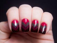 Chalkboard Nails: Vampy Fishtail - China Glaze On Safari Nail Art