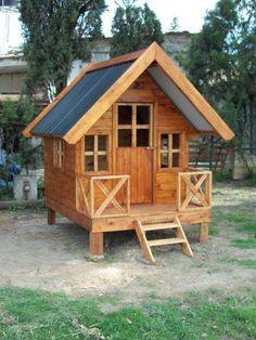 Trendy Ideas For Diy Home  : casas de madera para niños precios  Buscar con Google Kids Backyard Playground, Backyard For Kids, Backyard Projects, Cubby Houses, Dog Houses, Play Houses, Pallet Playhouse, Playhouse Outdoor, Pole House