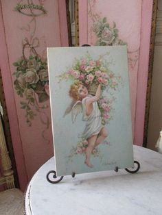 GORGEOUS Christie REPASY CANVAS PRINT Precious CHERUB with BASKET of PINK ROSES